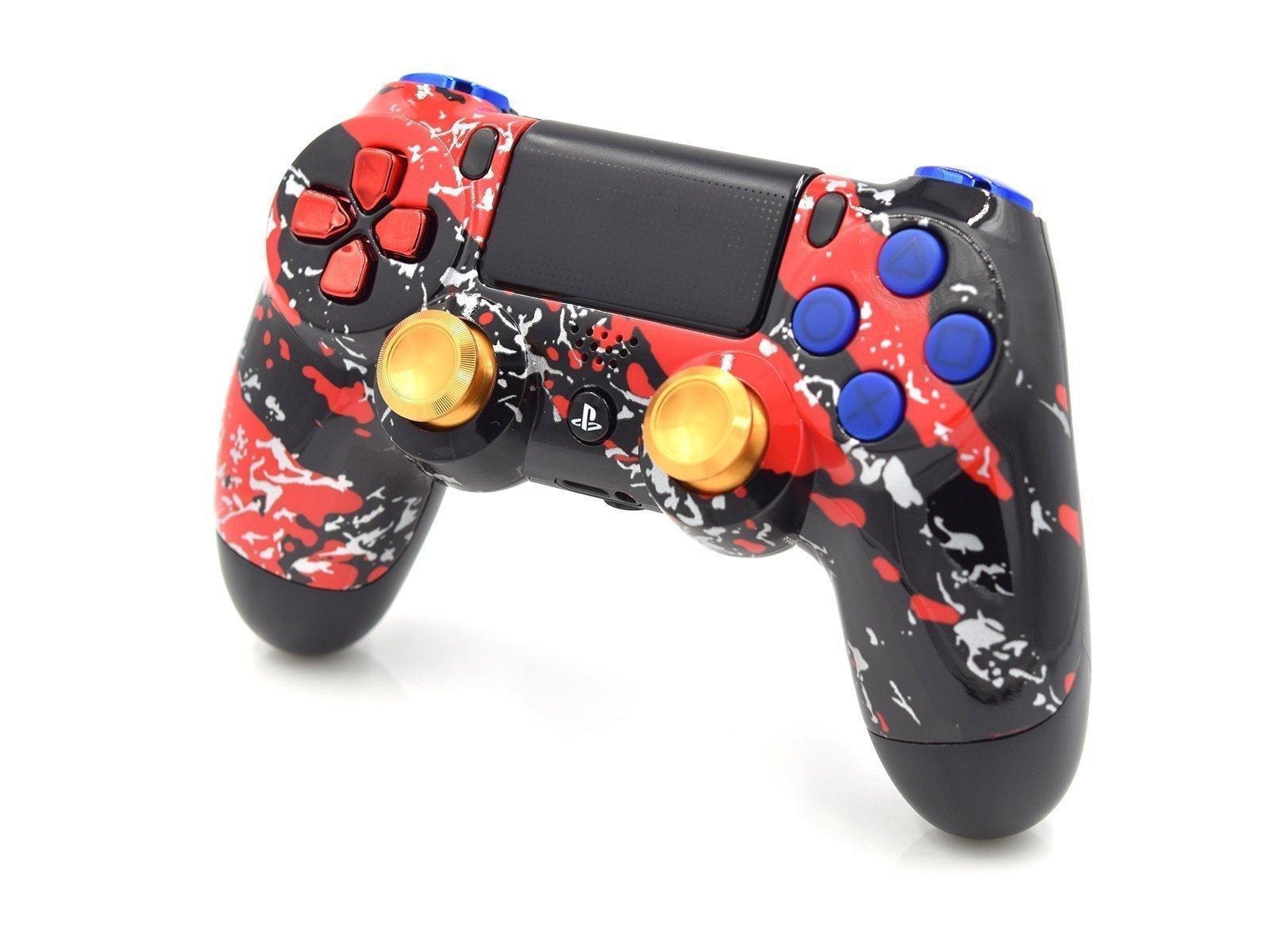 Custom Controller For PS4 - Red Splatter