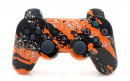 PS3 Orange Splatter Custom Modded Controller Small